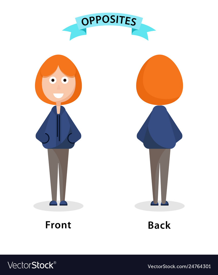 Wordcard for front and back antonyms and opposites vector image