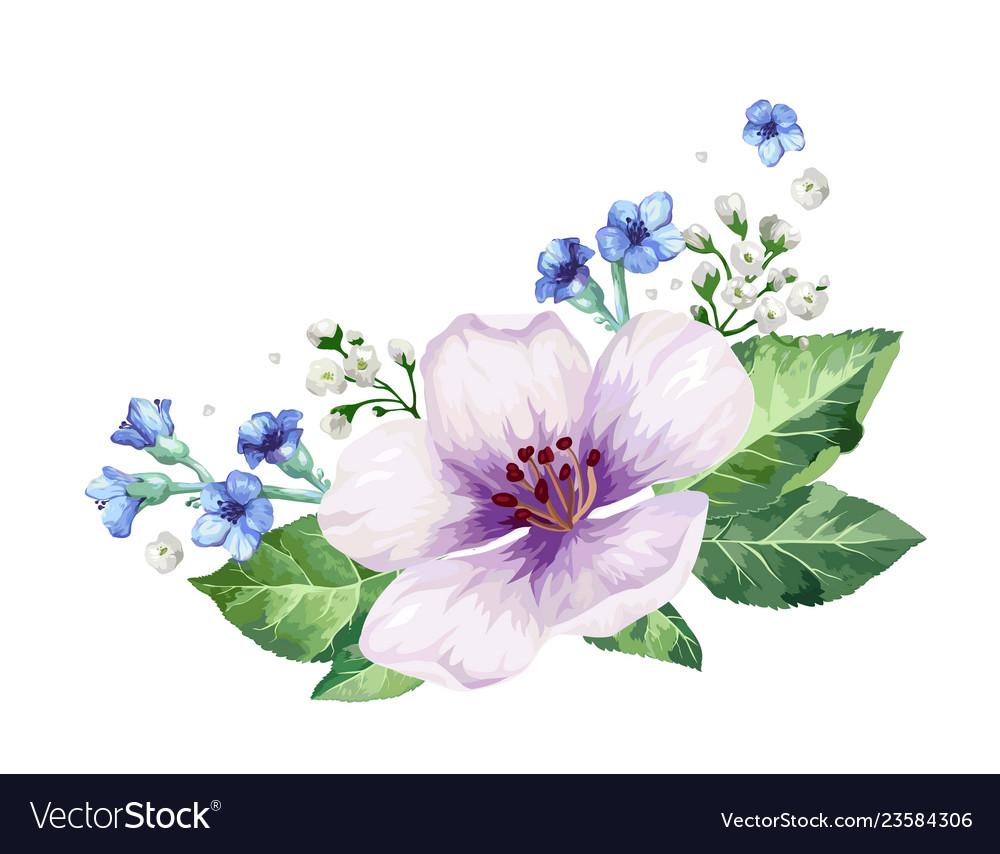 Apple tree flower frame in watercolor style