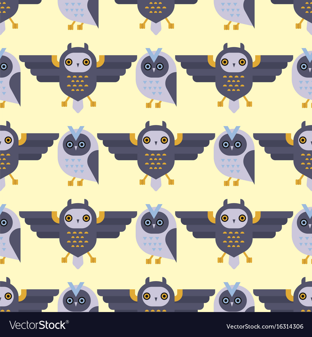 Cartoon owl bird cute character seamless pattern