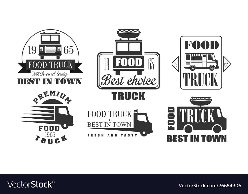 Food truck best in town premium retro logo
