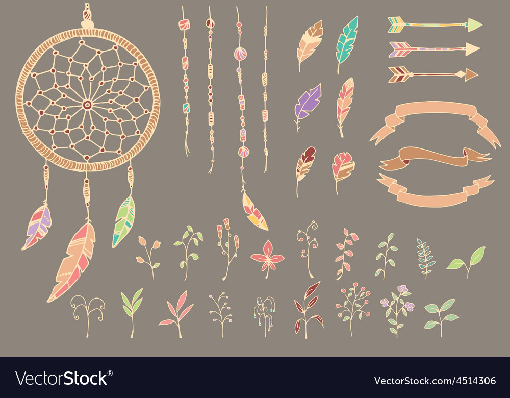 Hand drawn native american feathers dream catcher vector image