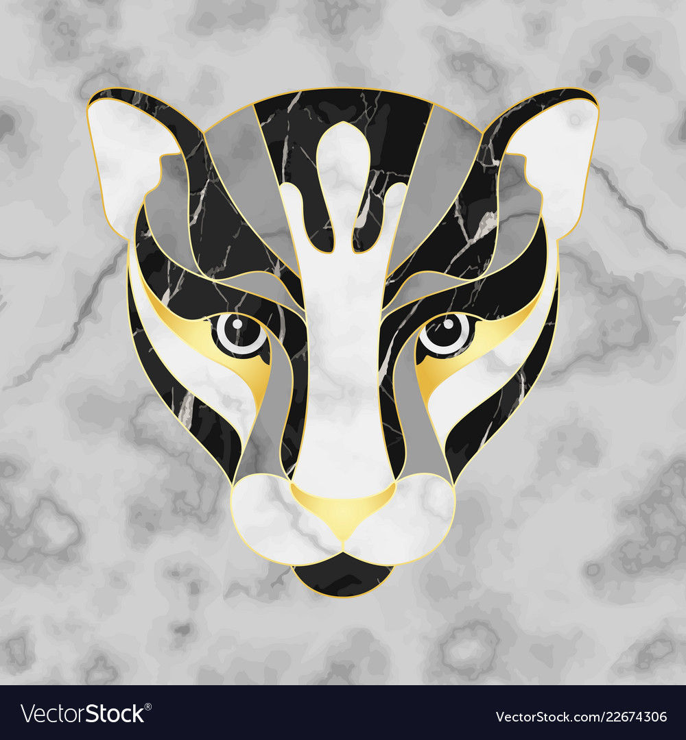 Marble abstract panther head on seamless