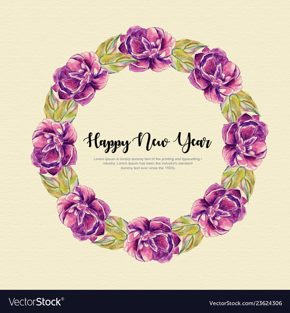 New year watercolor floral wreath