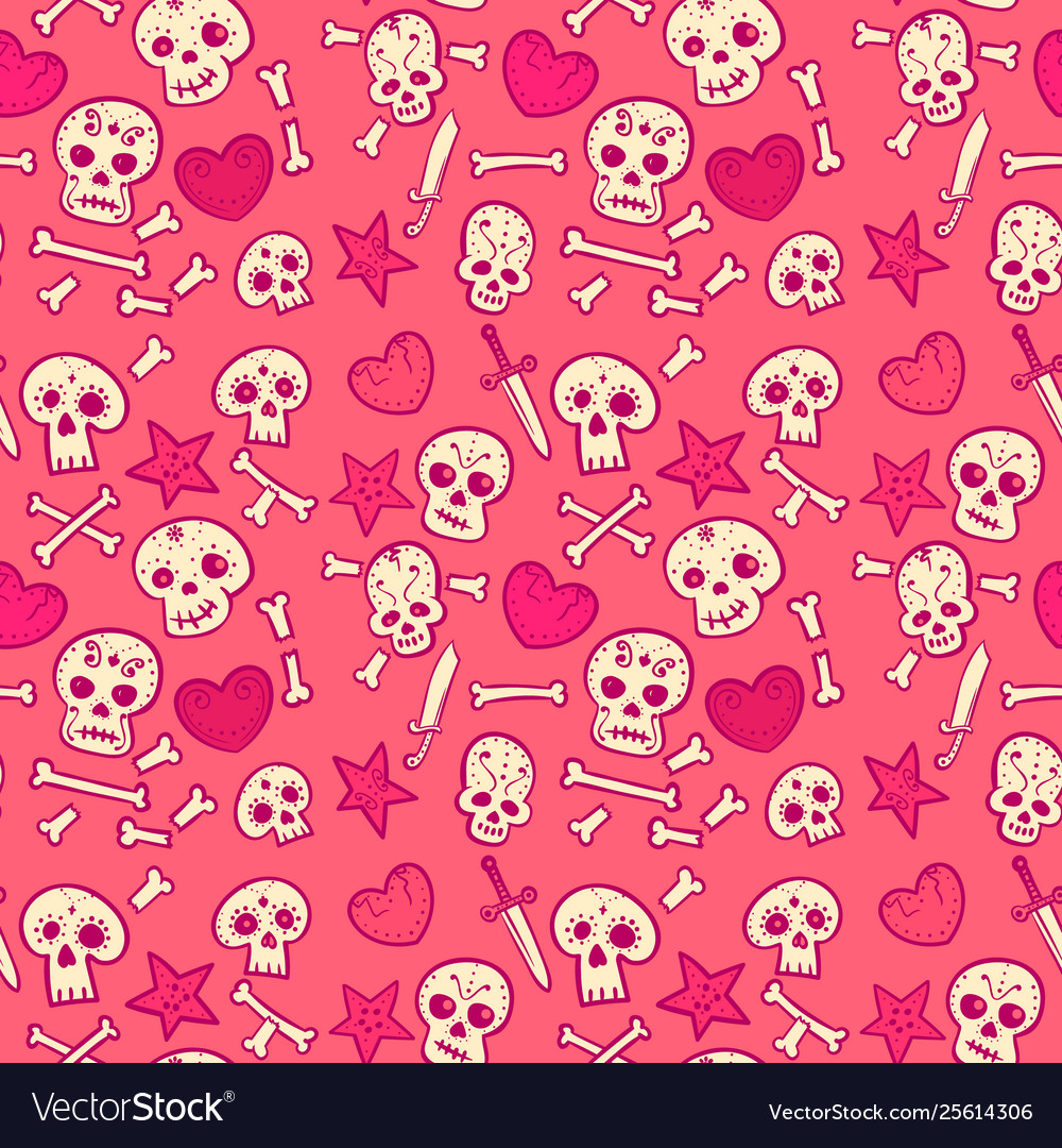 Pattern with skulls and hearts bones and daggers
