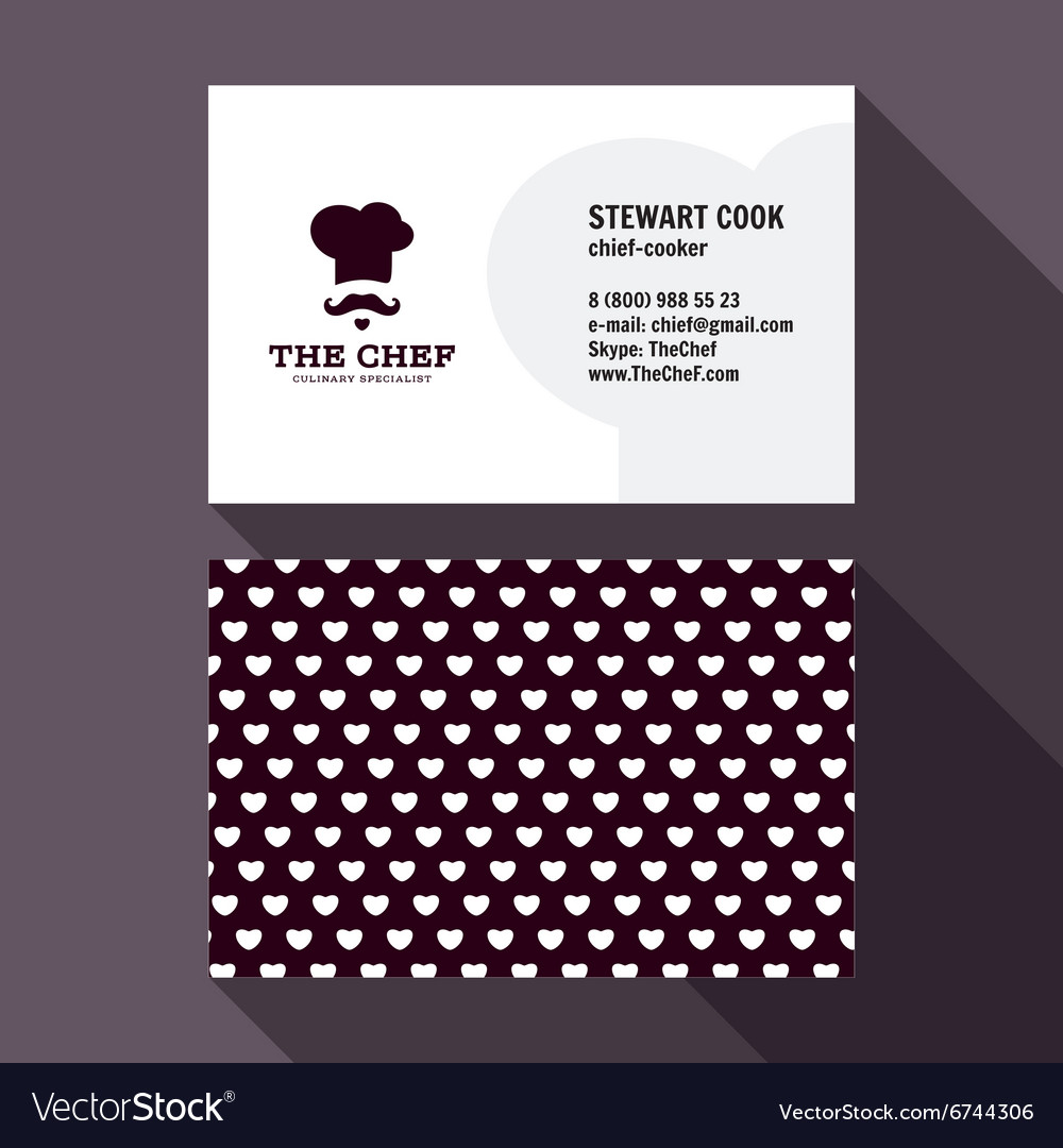 Qualitative elegant business card chef logo vector image colourmoves