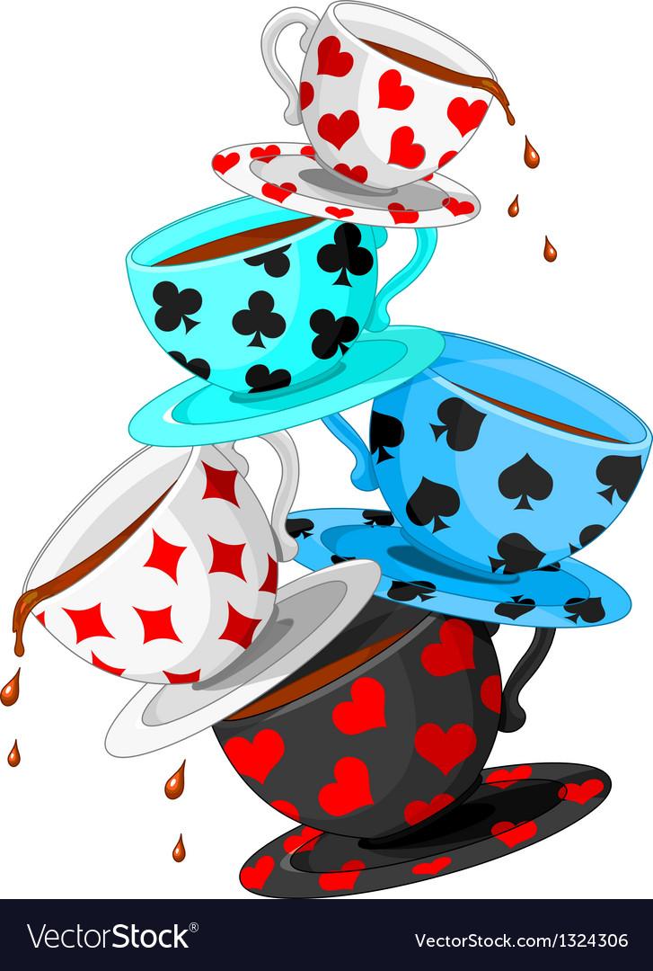 Tea cups pyramid vector image