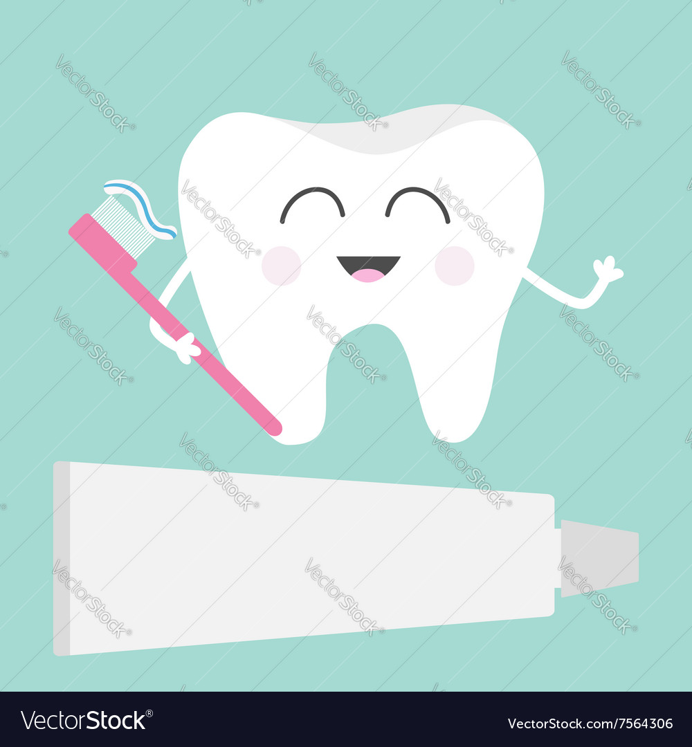 Tooth icon Toothpaste and toothbrush Cute funny vector image