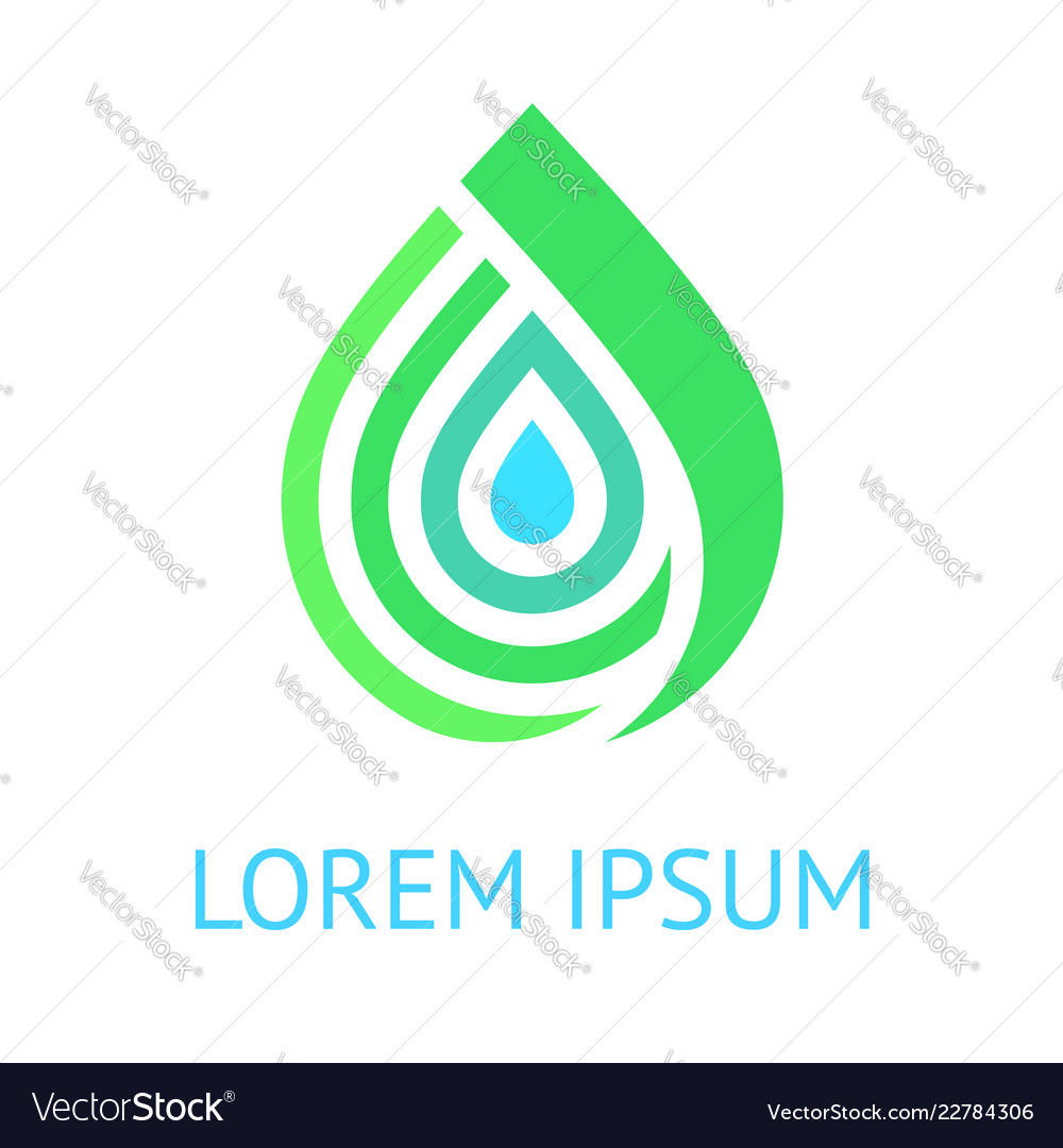 Water drop green blue logo template icon