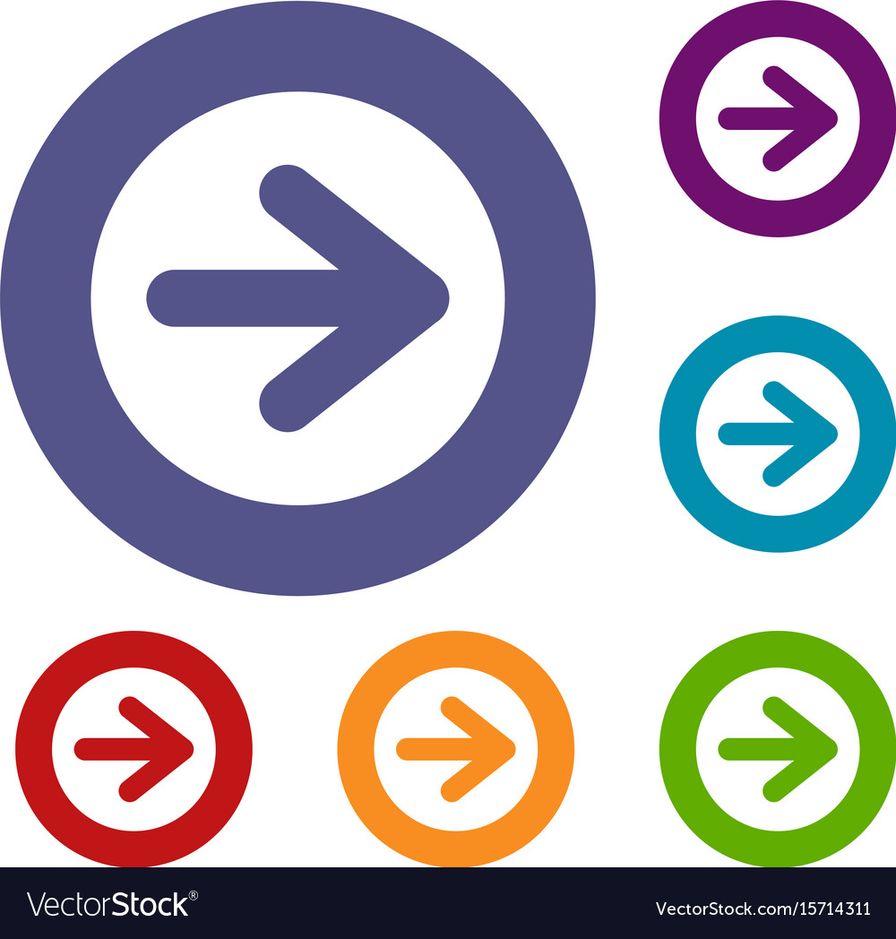 Arrow in circle icons set