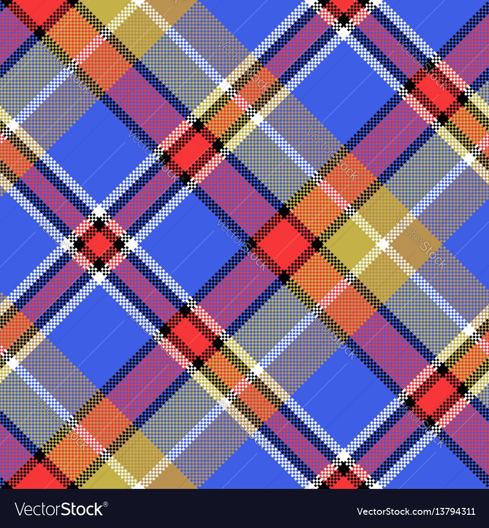 Blue madras diagonal fabric texture pixeled vector image