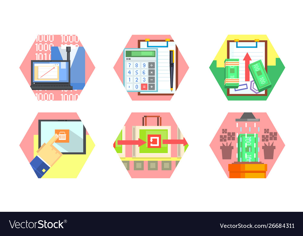 Business money banking and finance icons set