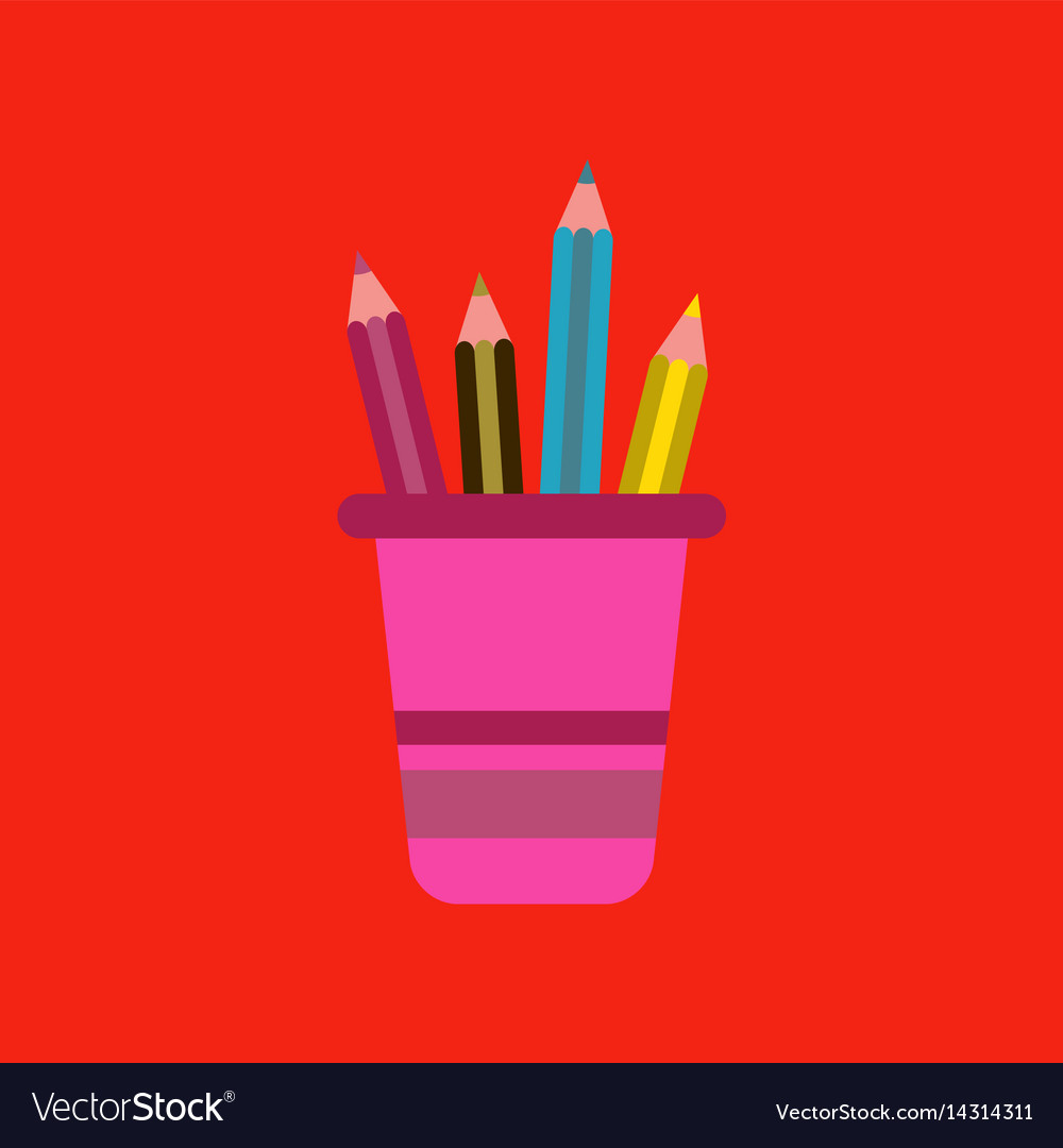 Flat icon on background pencils in stand