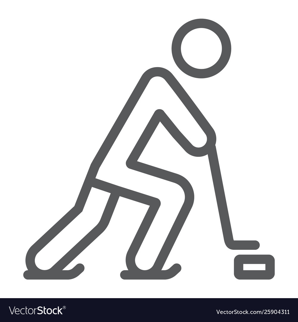Hockey player line icon sport and skate ice