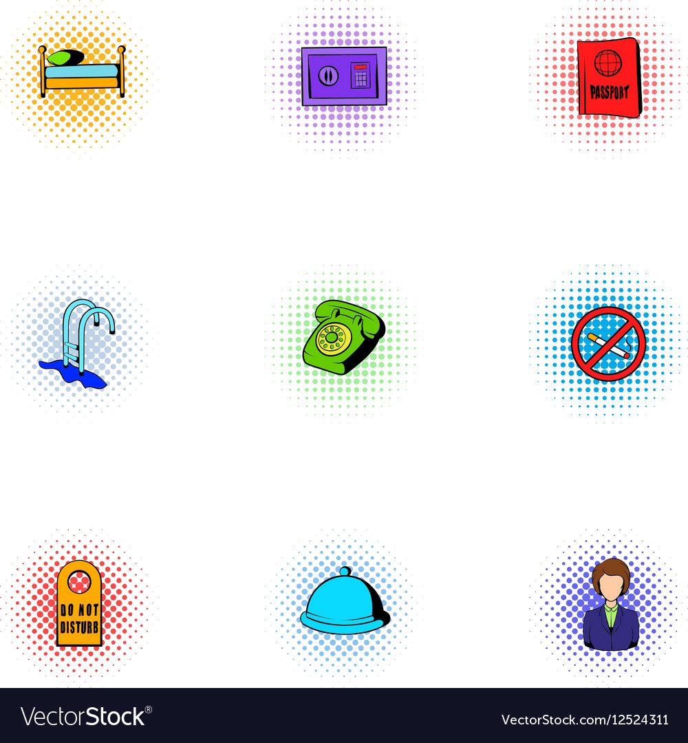 Hostel icons set pop-art style vector image