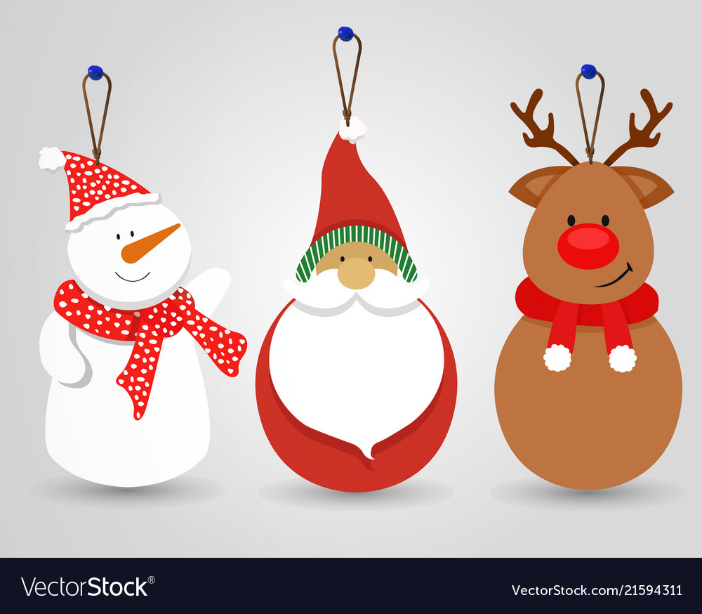 Merry christmas snowman santa decoration ornament