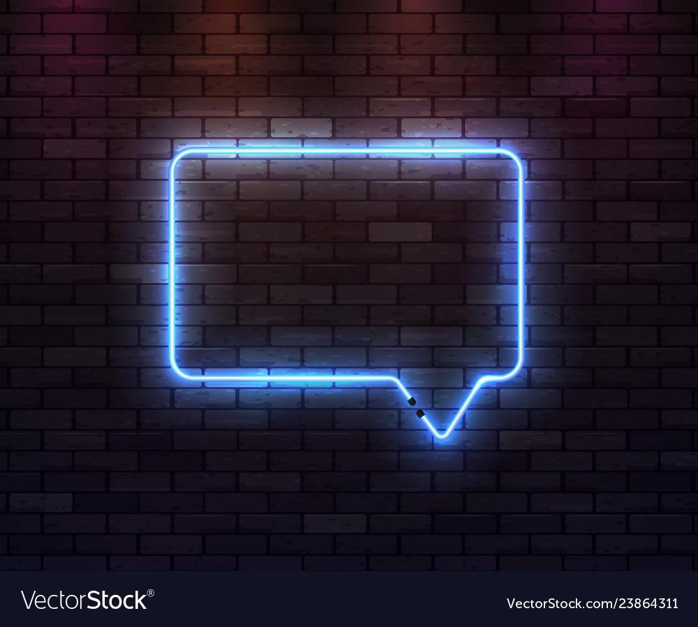Neon frame speech bubble on dark brick background