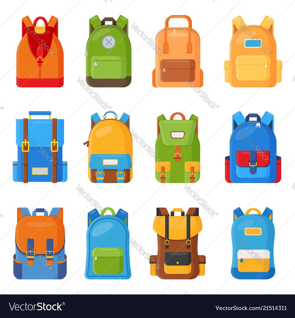 Set of twelve colored school backpacks education