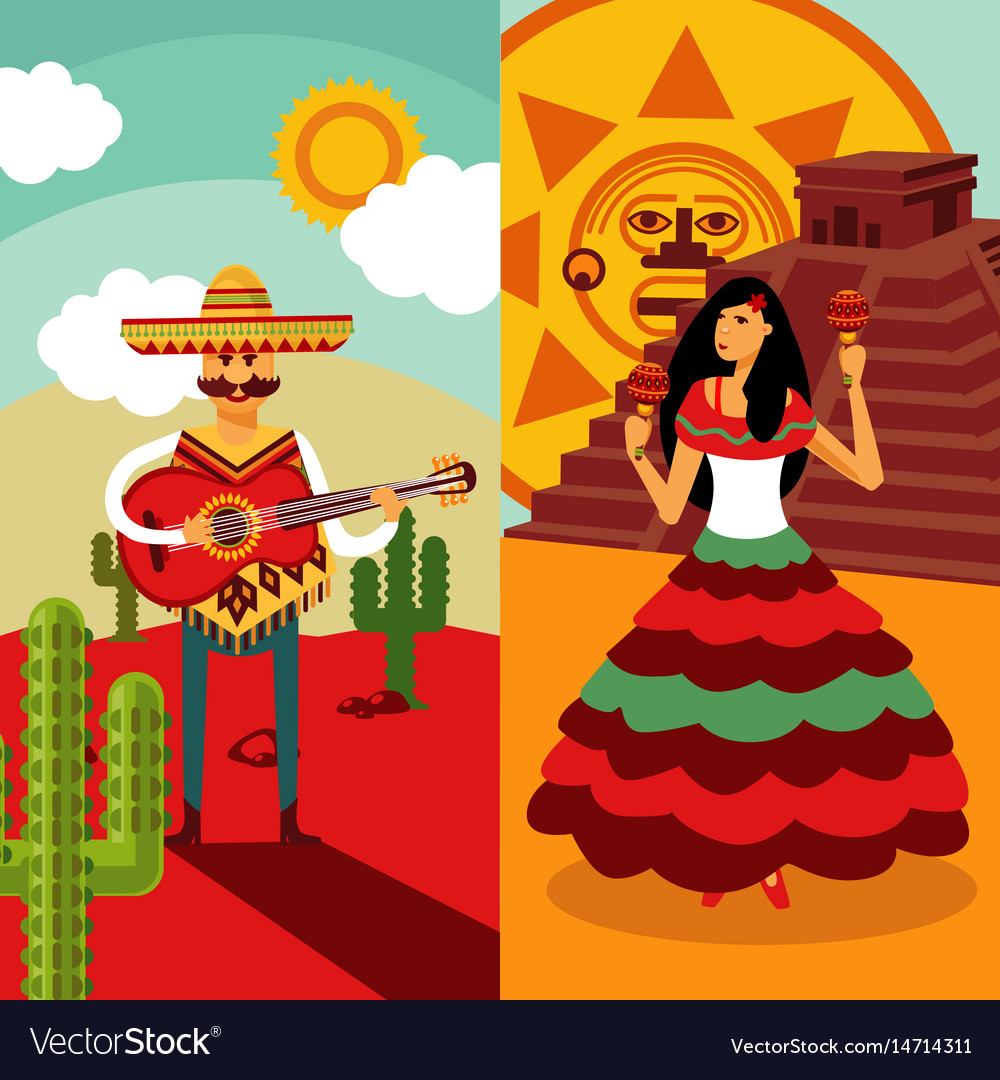 Traditional mexico vertical banners