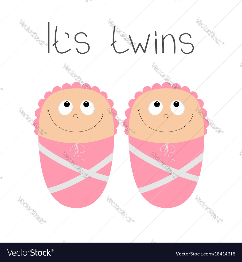 Baby Shower Card Its Twins Girl Cute Cartoon Vector Image