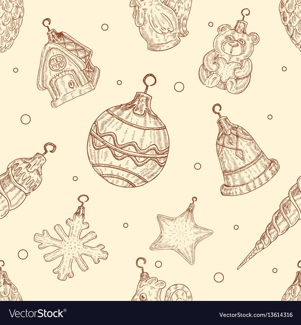 Christmas toys seamless pattern in in hand drawn