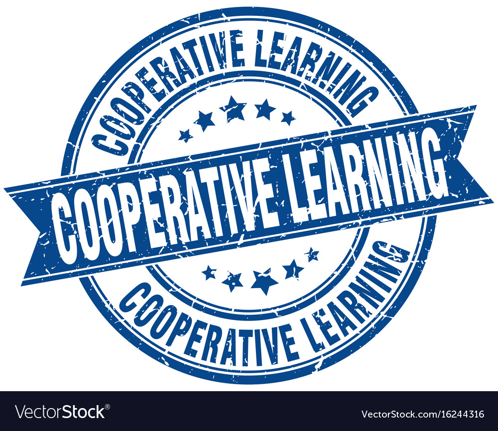 Cooperative learning round grunge ribbon stamp