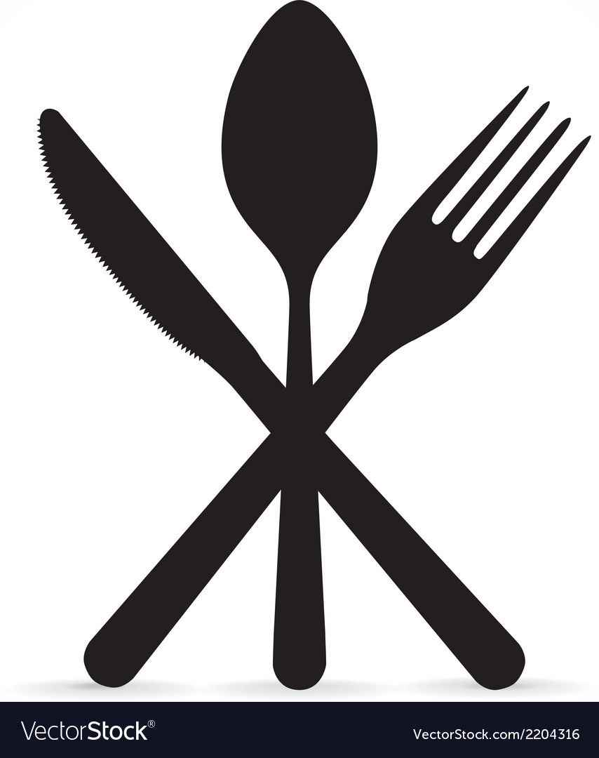 crossed fork knife and spoon royalty free vector image