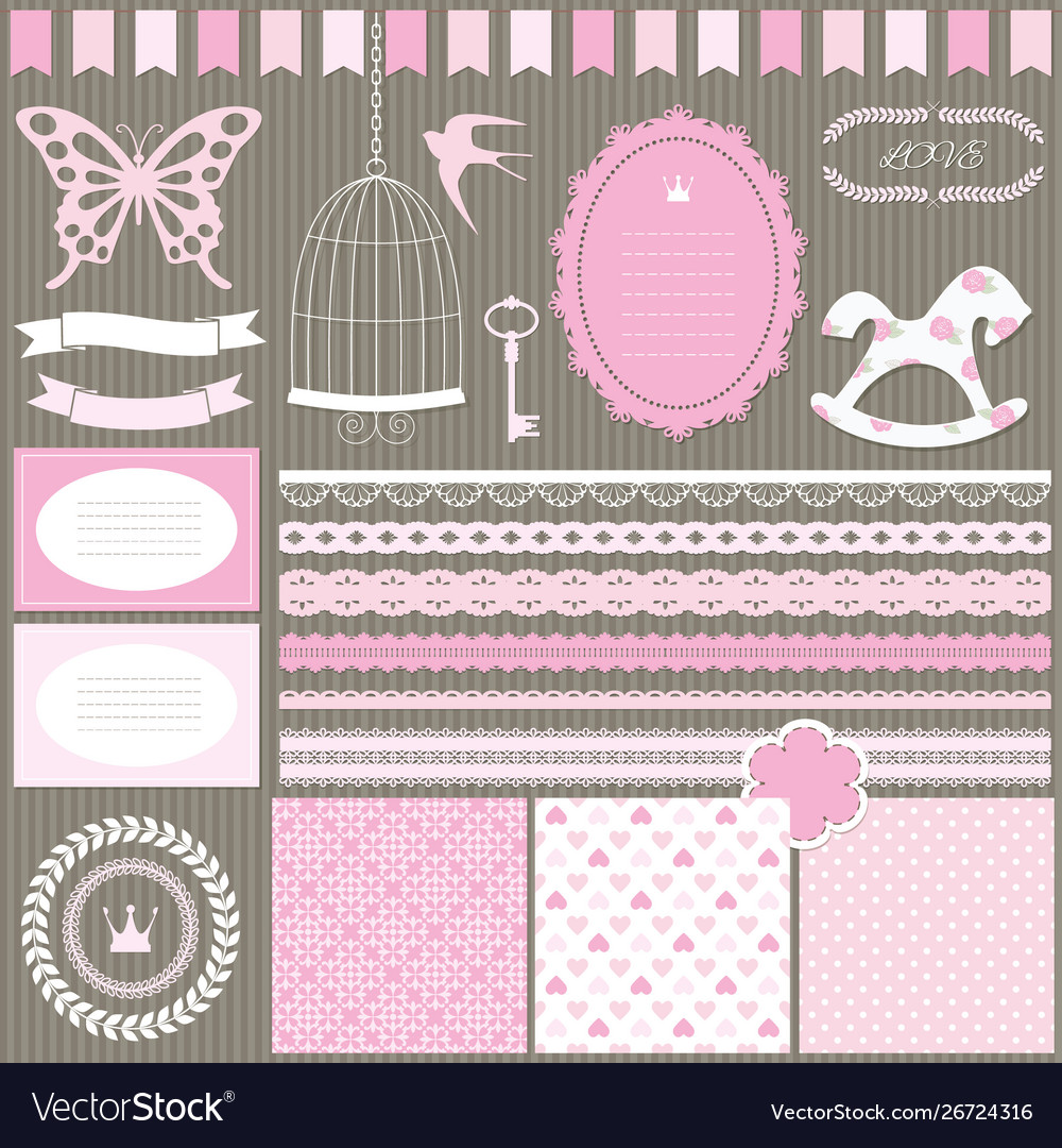 Cute scrapbook design elements set