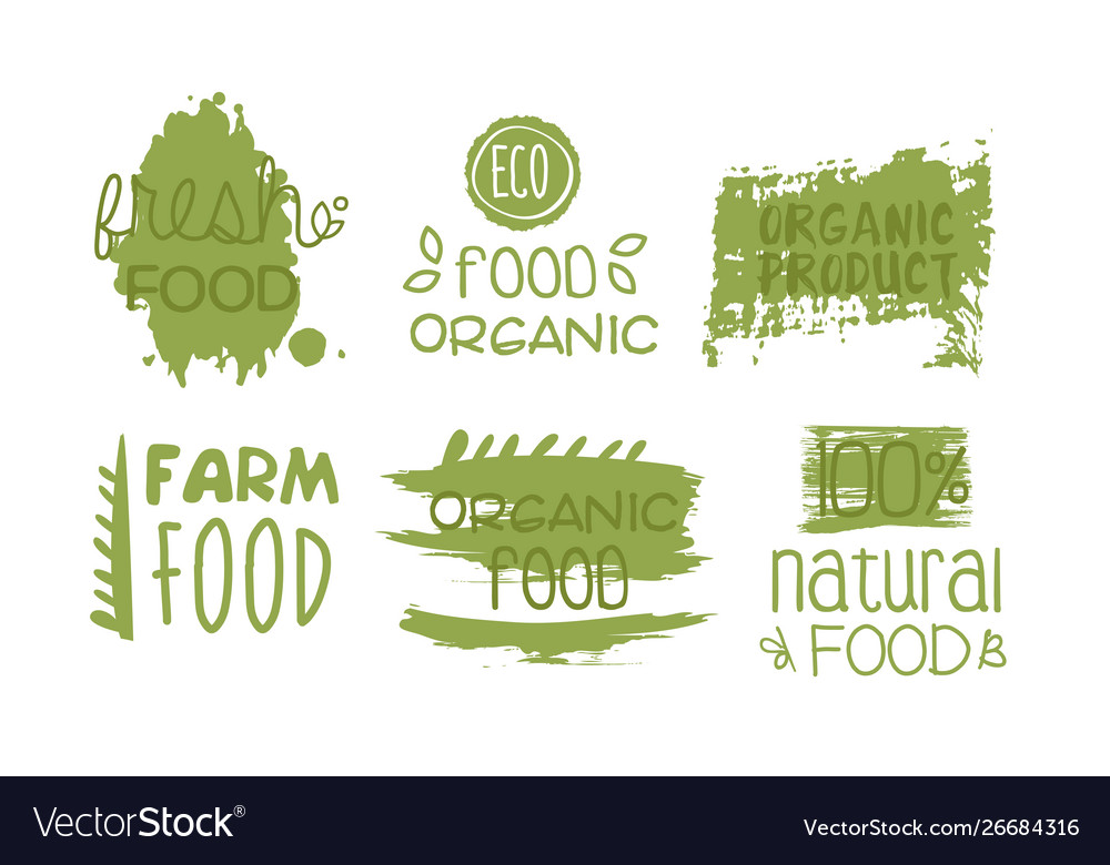 Fresh organic natural food green labels set eco