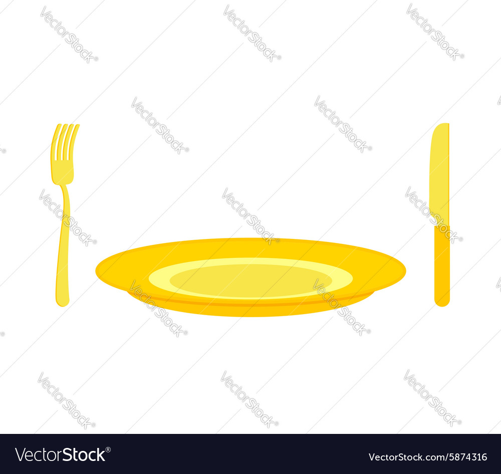 Gold cutlery knife and fork for rich Expensive