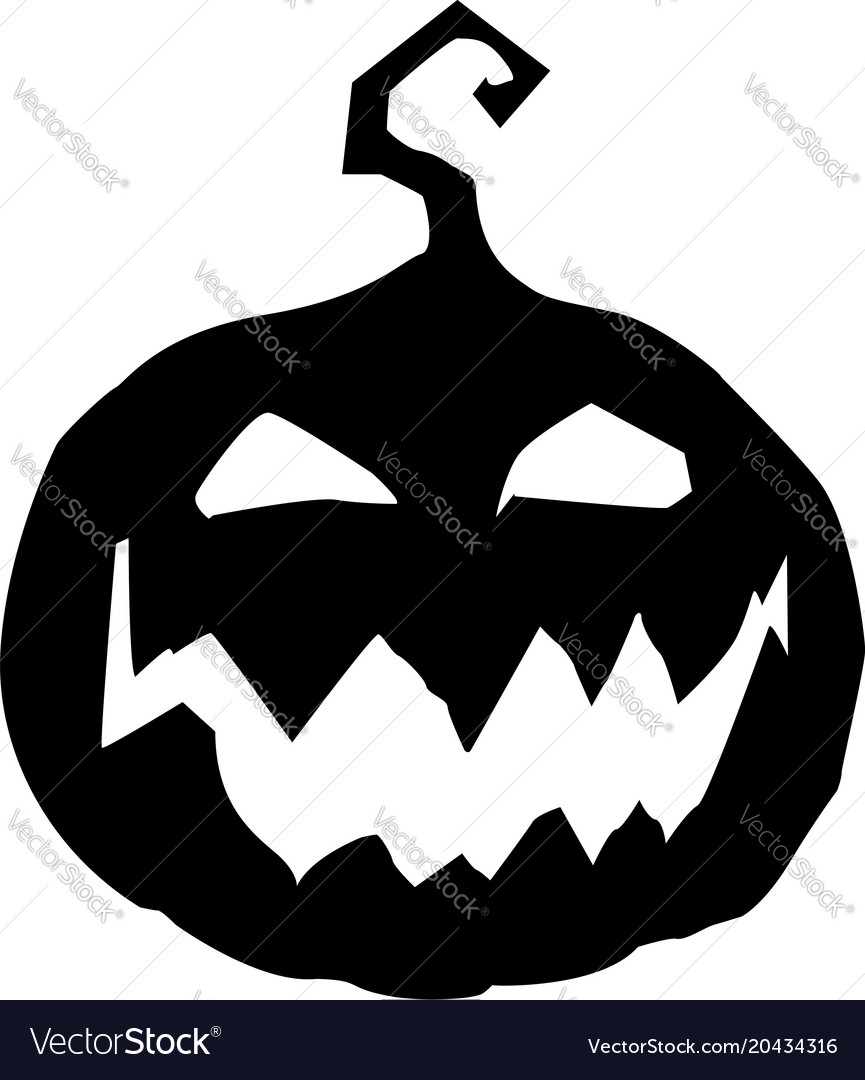 Halloween Vector Black And White.Halloween Of Scary Pumpkin Jack Face Black