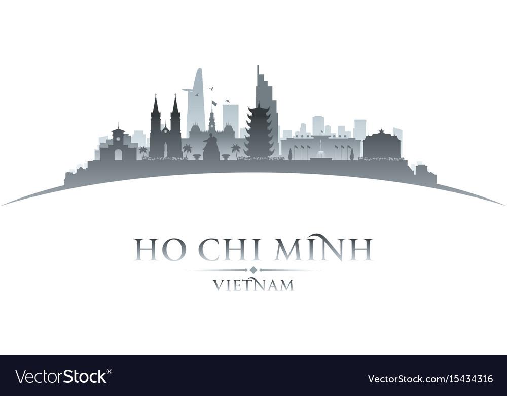 Ho chi minh city vietnam skyline silhouette white vector image