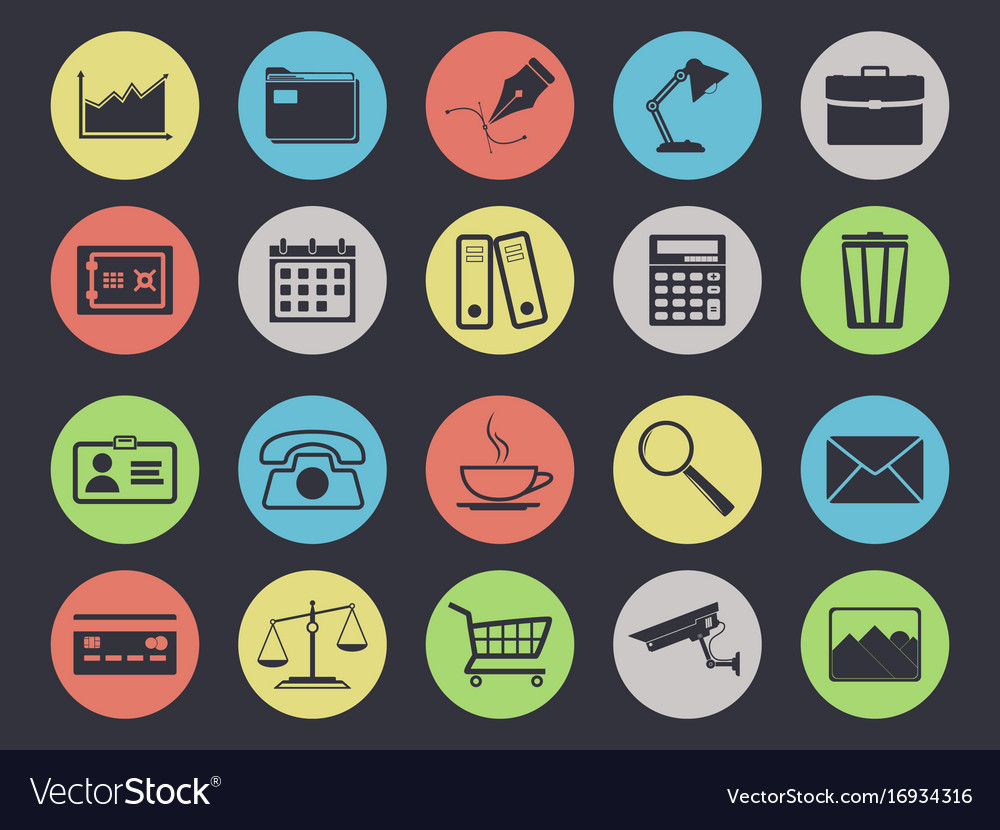 Office icons set isolated on black