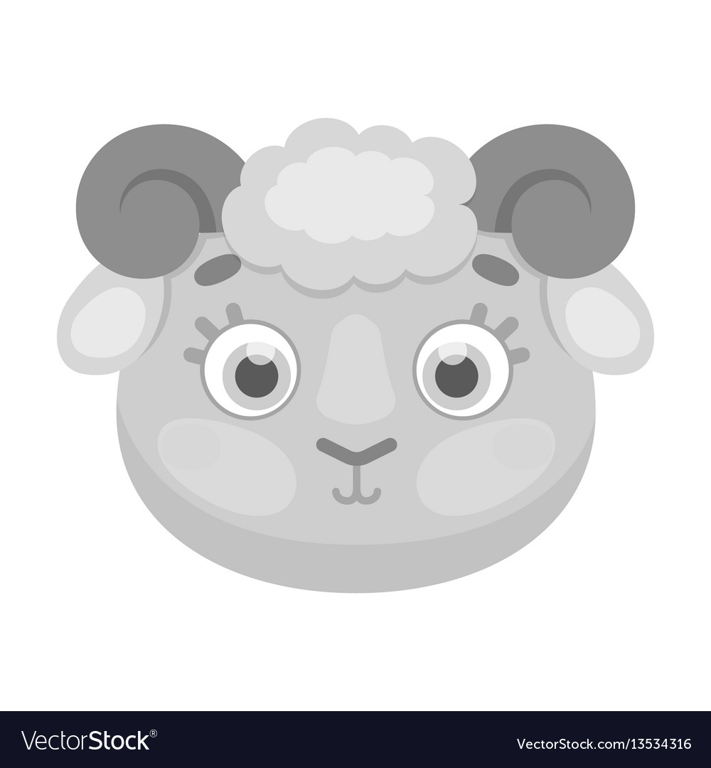 Ram muzzle icon in monochrome style isolated on