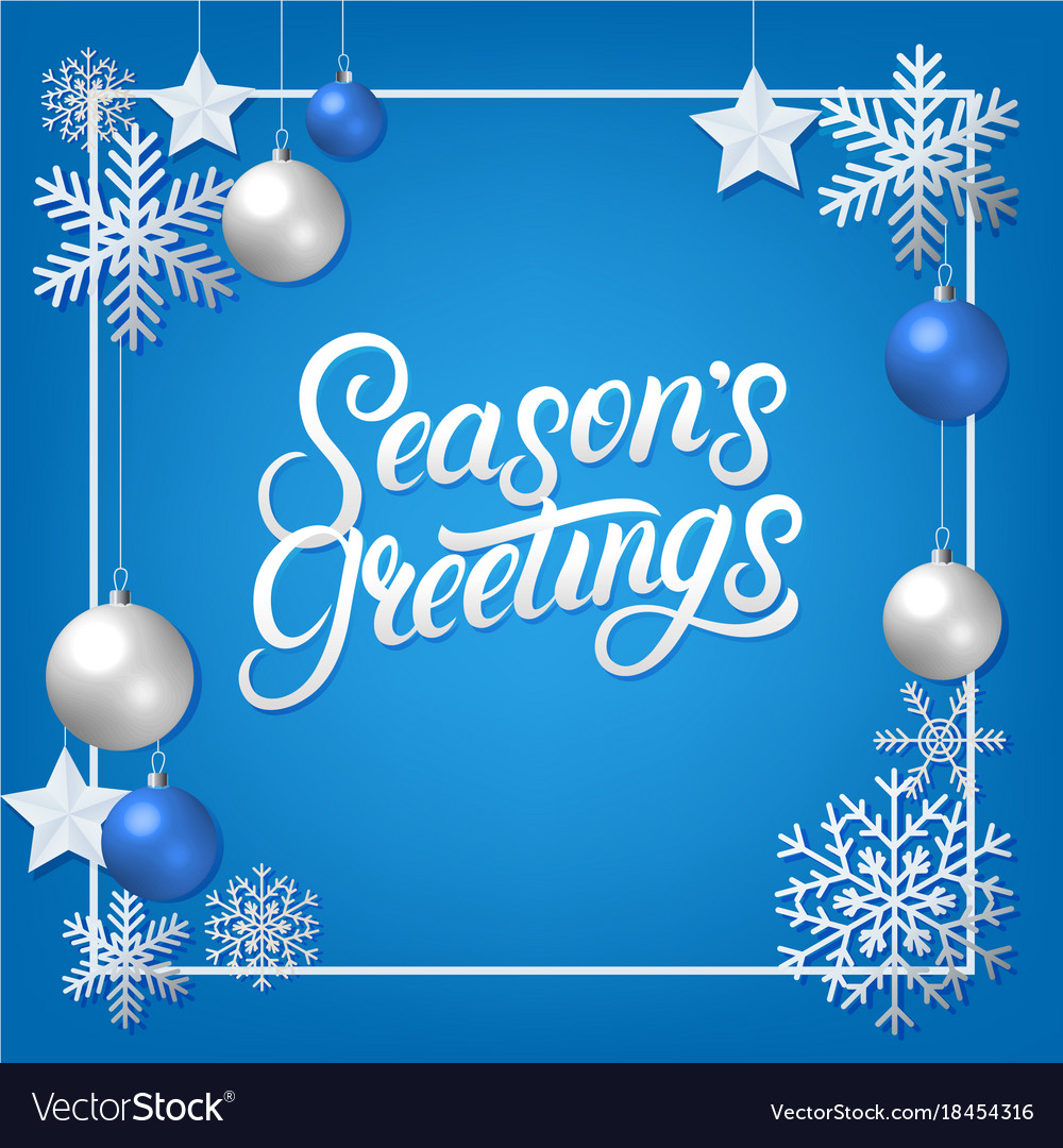 Seasons Greeting Hand Written Lettering Royalty Free Vector