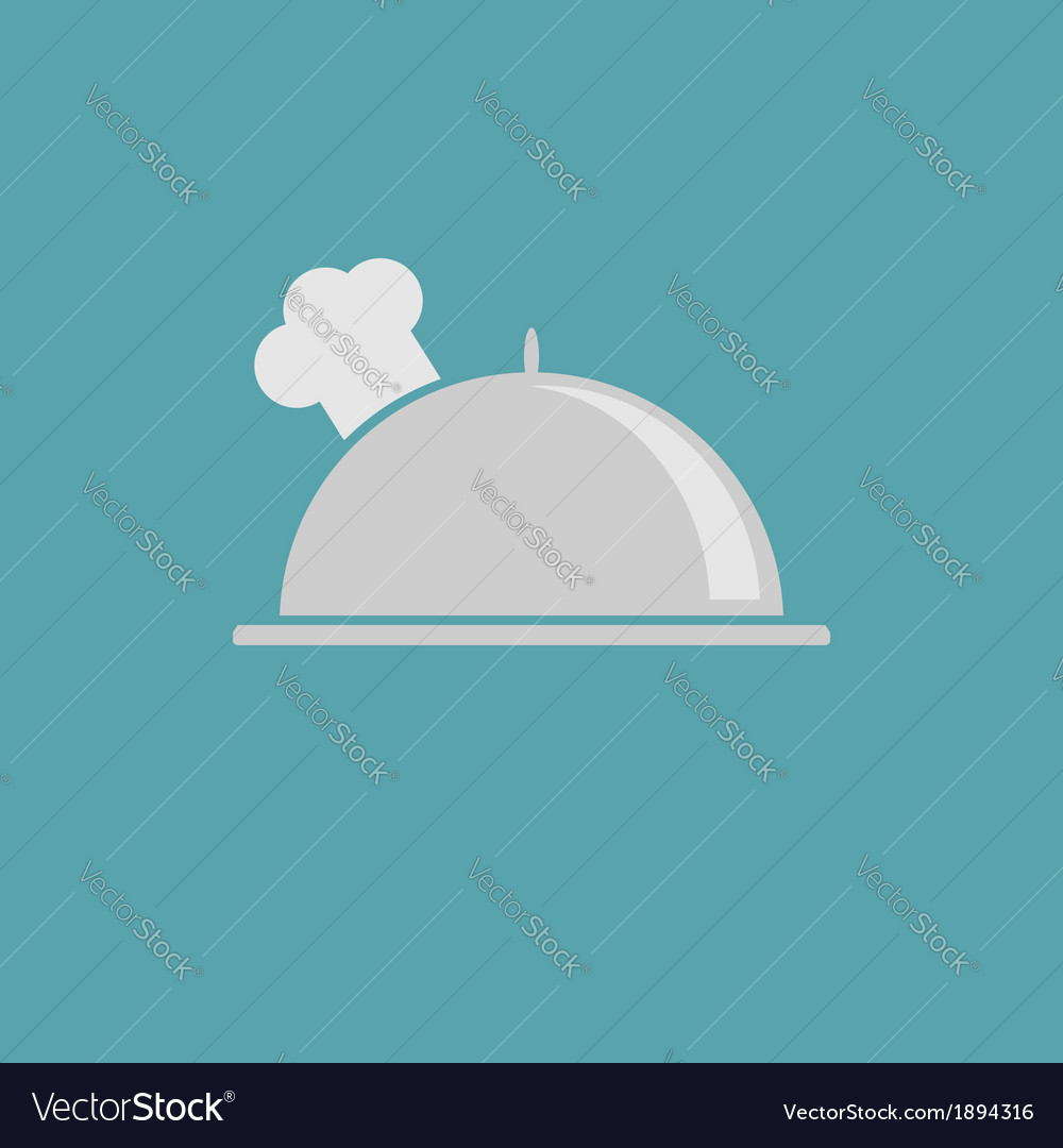Silver platter cloche and chefs hat icon