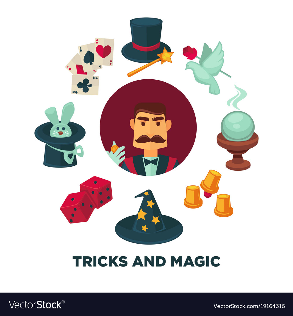 Trick and magic promotional poster with magician