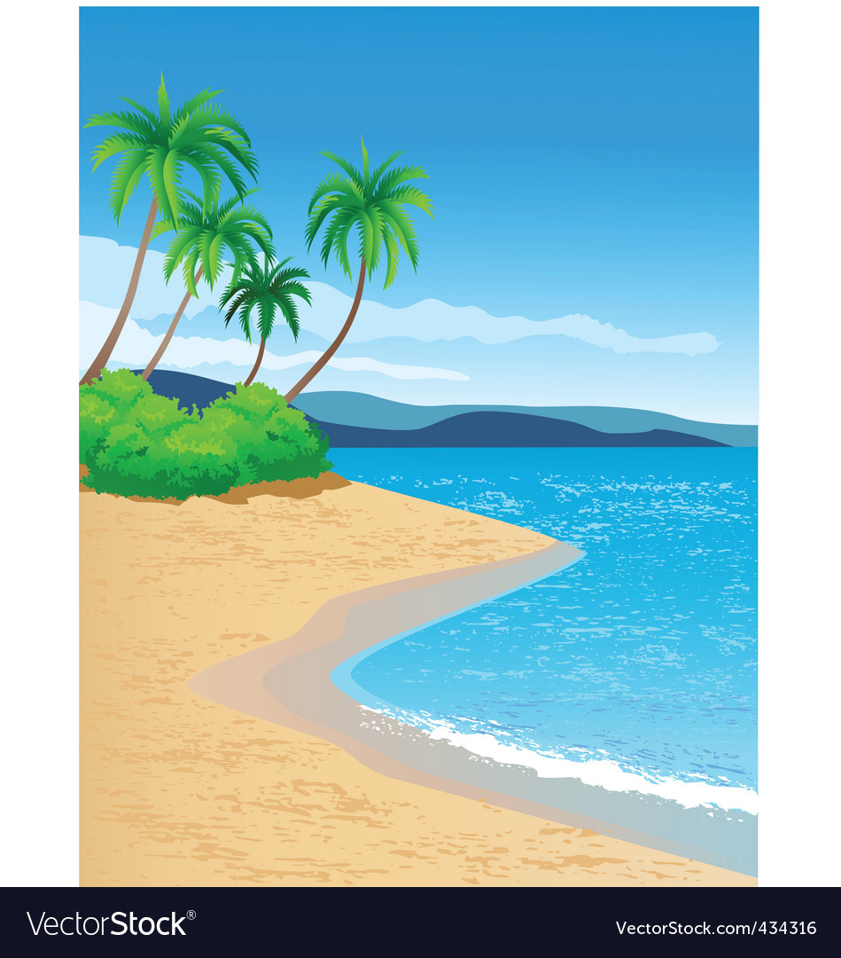 tropical beach royalty free vector image vectorstock rh vectorstock com beach vector free beach vector background
