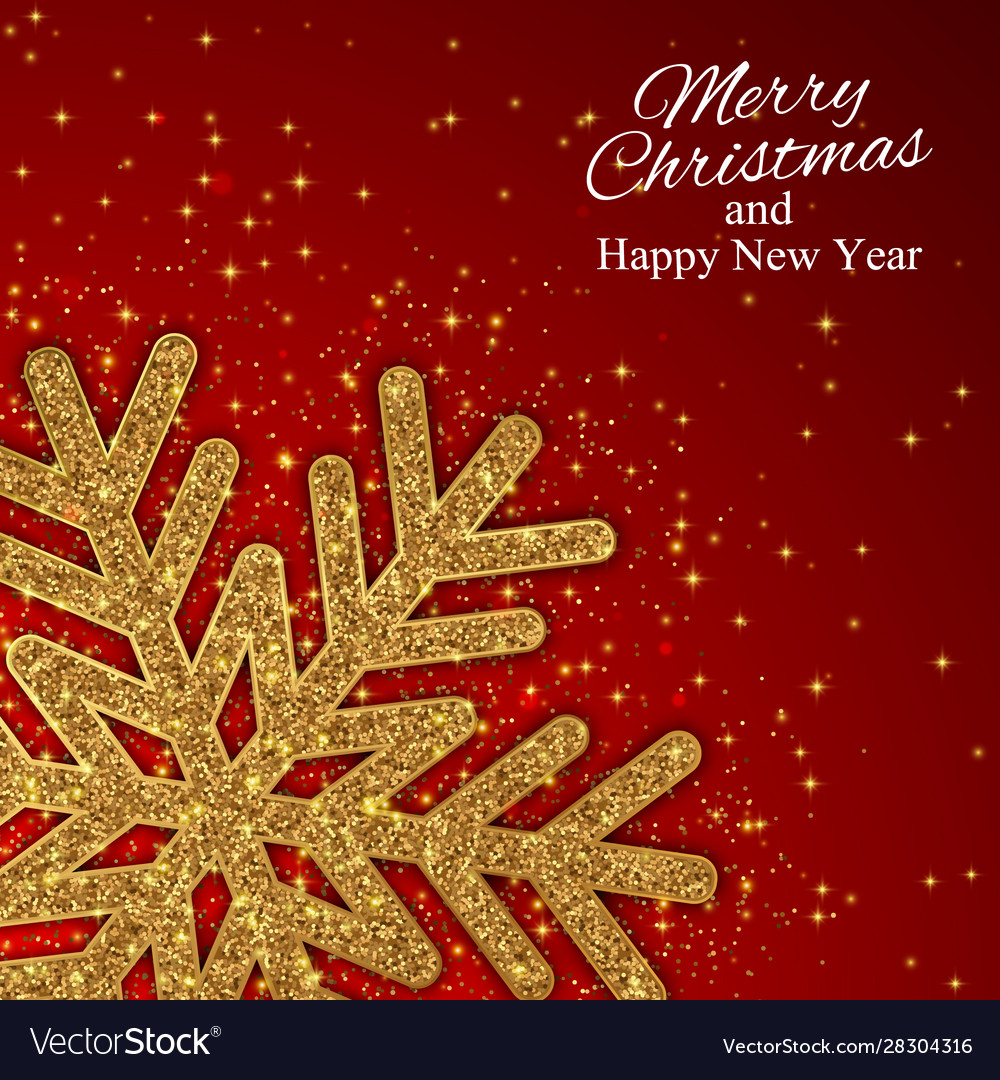 Year background with gold snowflake