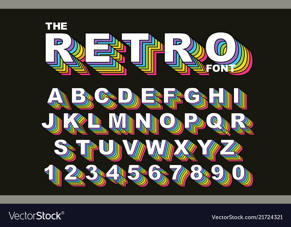 80 s retro alphabet font rainbow vintage alphabet