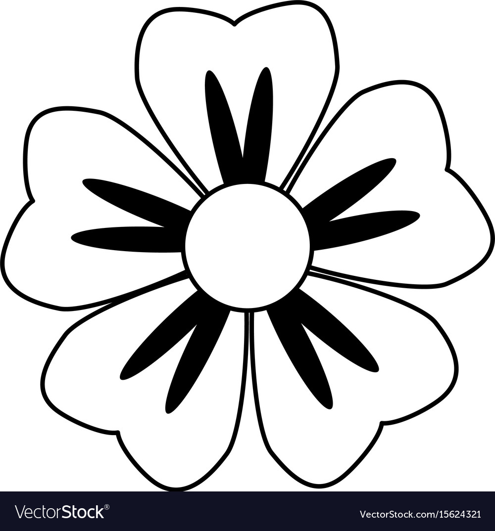 Cartoon flower in black and white line icon image vector image mightylinksfo