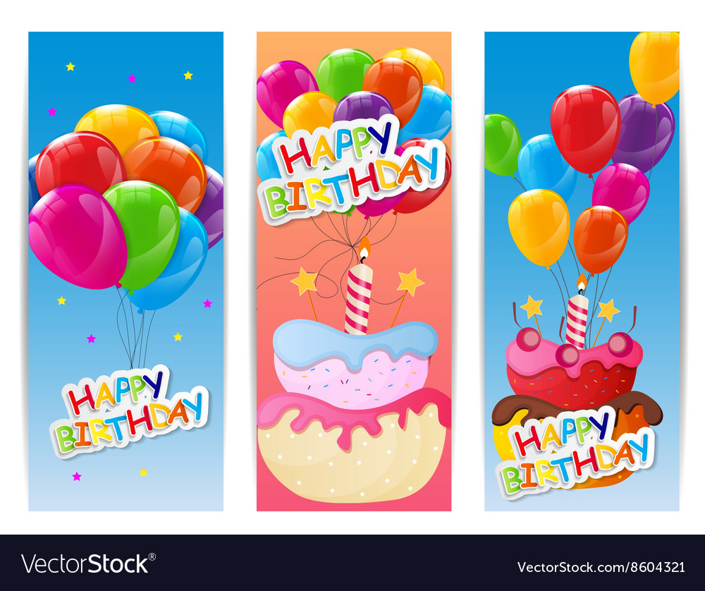 Outstanding Color Glossy Happy Birthday Balloons And Cake Vector Image Funny Birthday Cards Online Alyptdamsfinfo