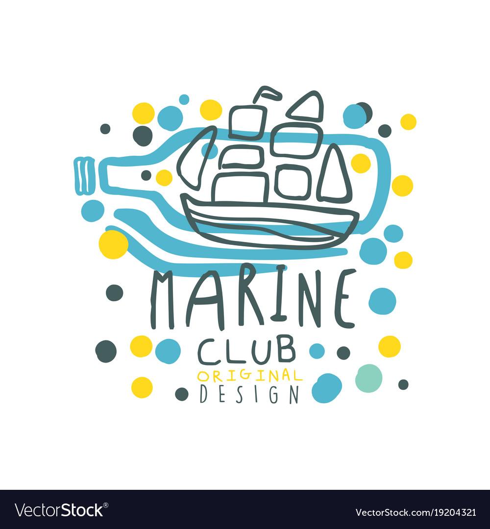 Colorful sea club logo design with ornamental