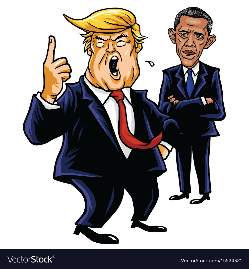 Donald trump and barack obama cartoon caricature