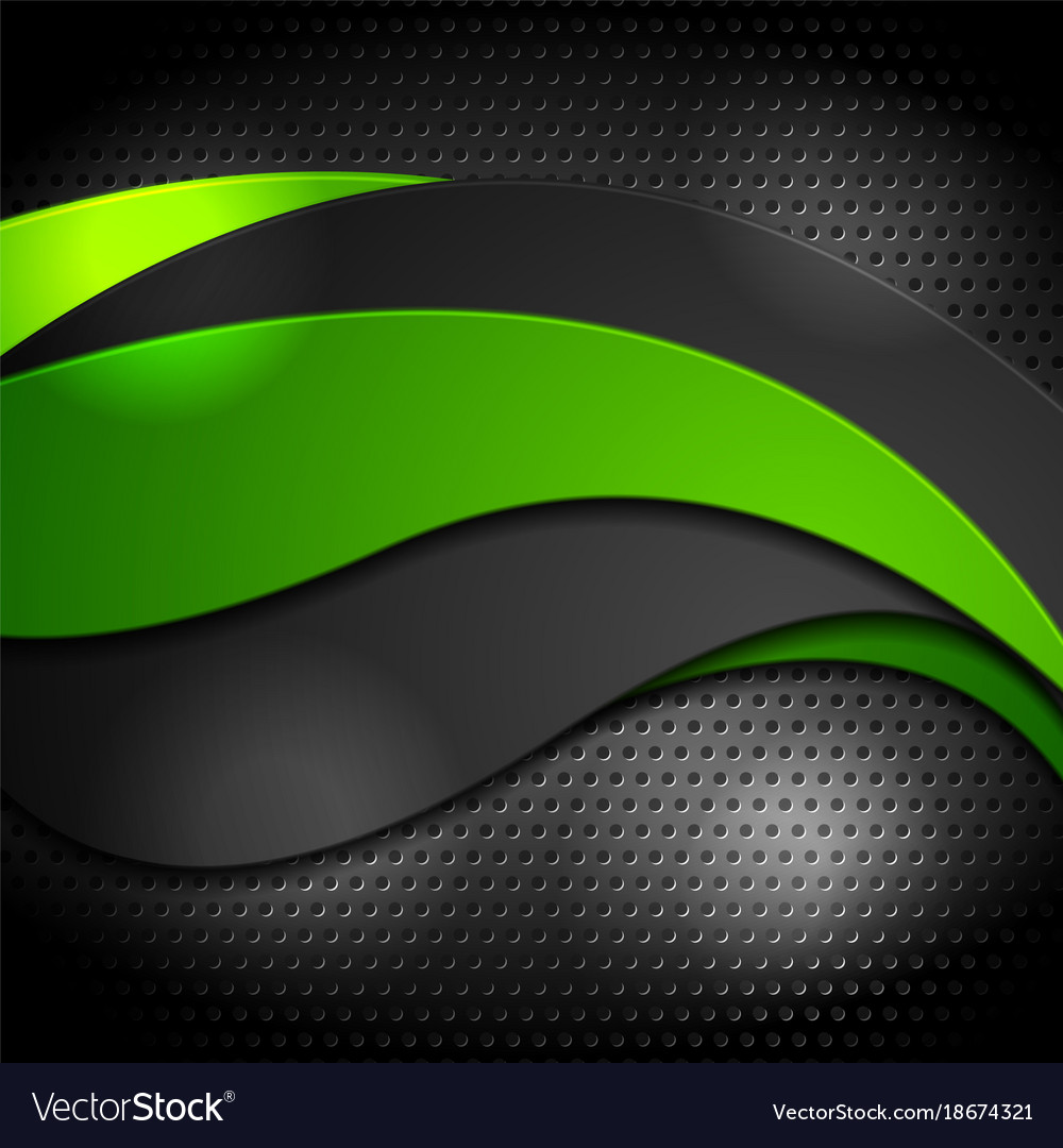 Green and black waves on perforated background