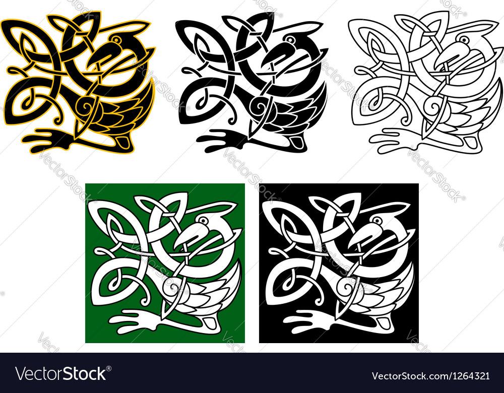 Heron bird in celtic ornament vector image