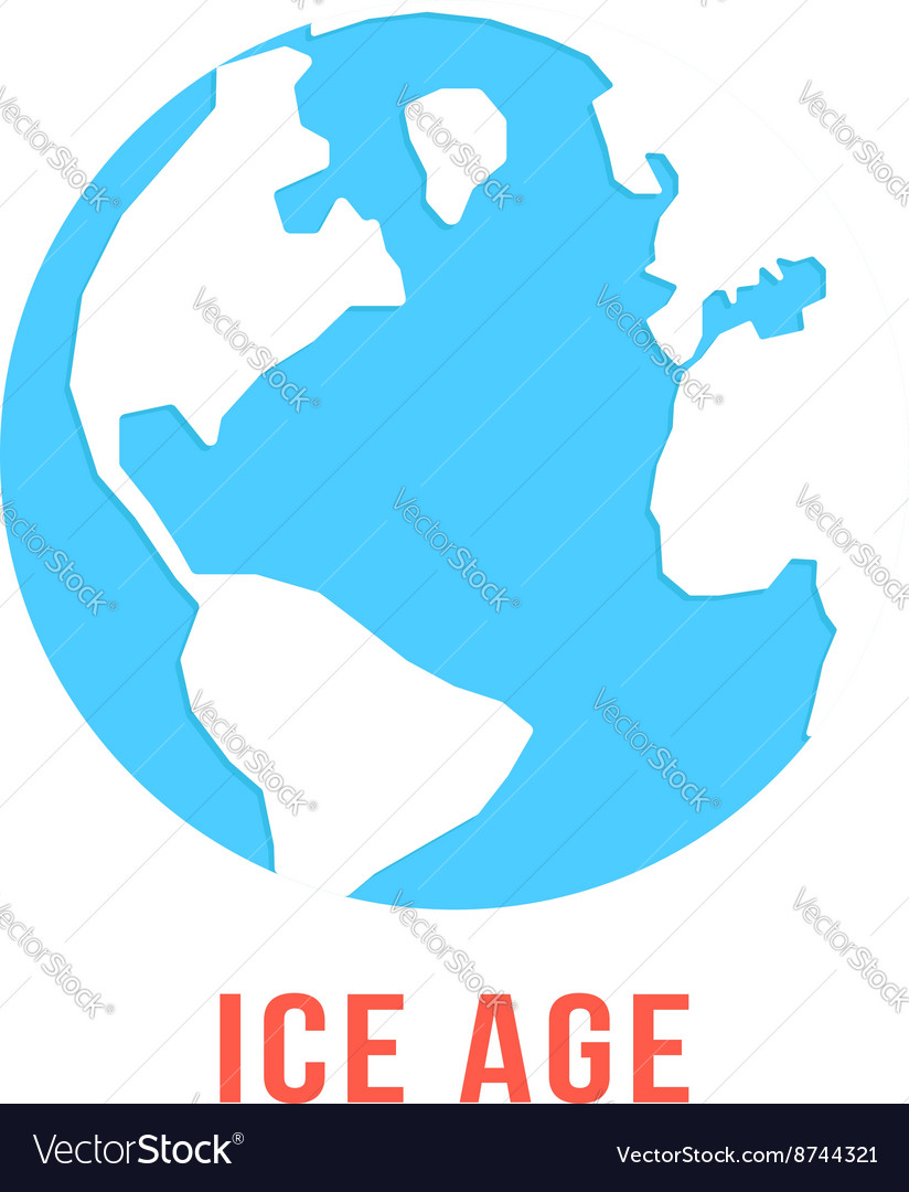 Ice age with blue planet earth