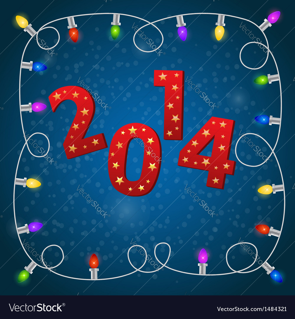 New Year card with colorful christmas garland