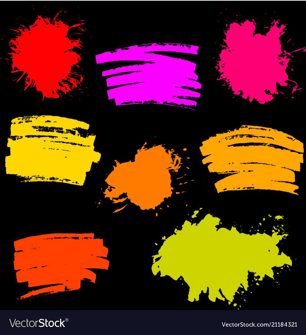 Paint splash set of brush strokes vector image