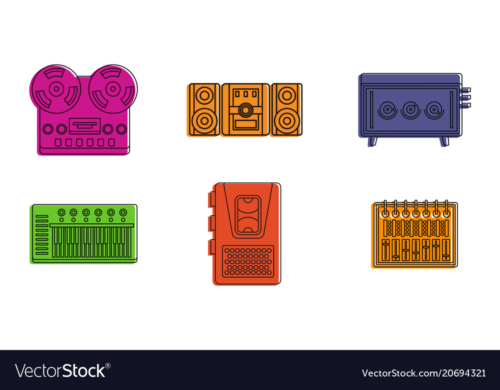Play device icon set color outline style