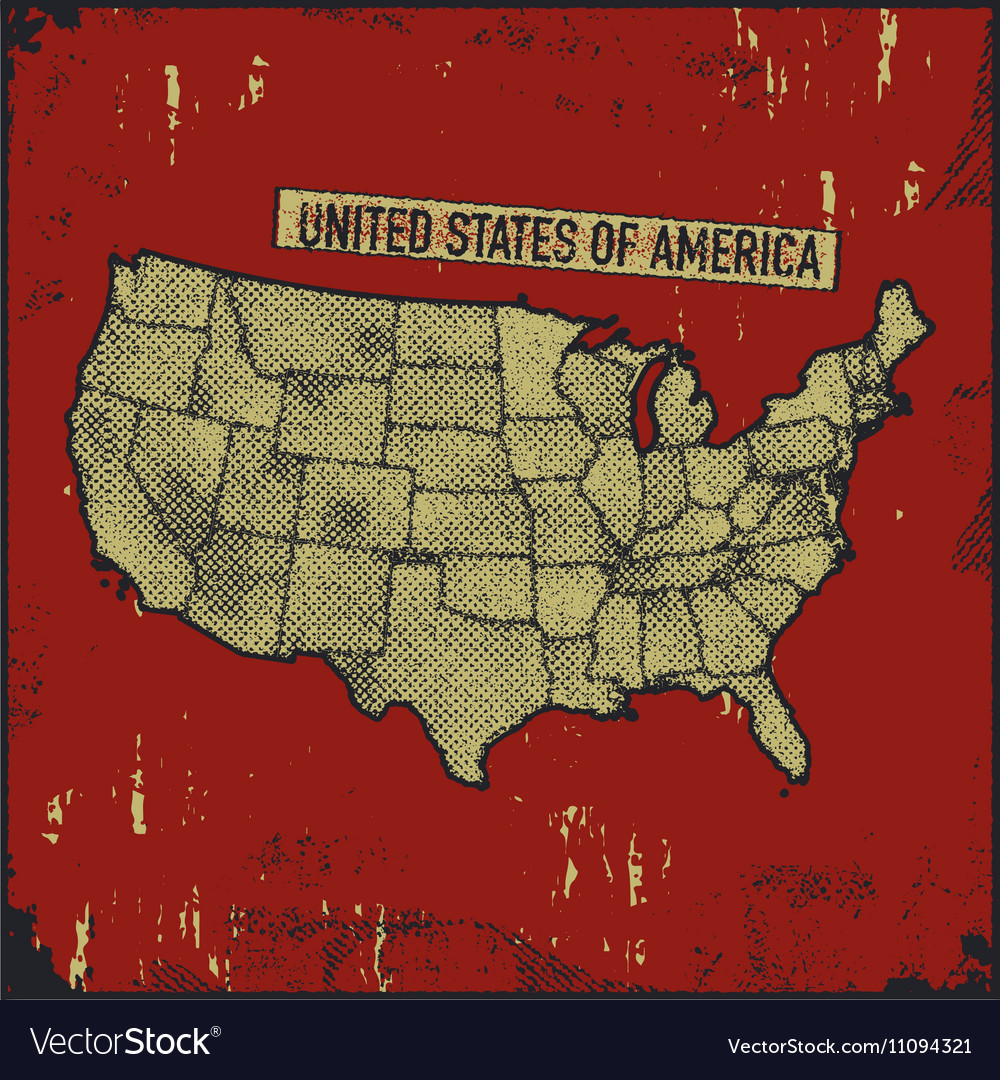 Retro distressed insignia with US map Royalty Free Vector